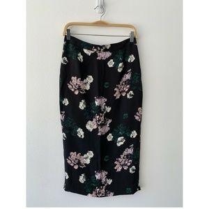A.L.C. Midi Floral Print Silk Pencil Skirt Size 6